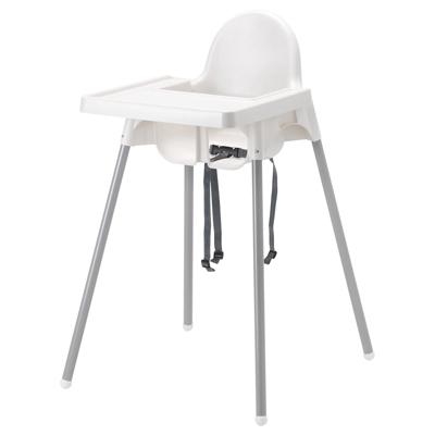 כסא אוכל פלסטיק לתינוק צבע לבן + שולחן
