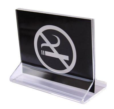 """מעמד שילוט NO SMOKING אקרליק 11X9 ס""""מ"""
