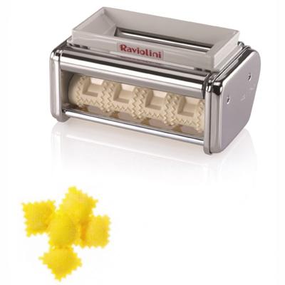 """אביזר תוסף רביולי למכונת פסטה מרובע קטן 3X3 ס""""מ מורכב מגלגל של 4 קטביות"""