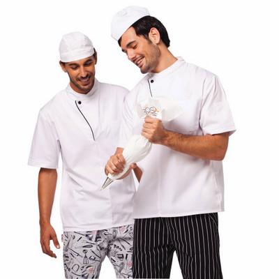 זקט שף לבן פס שחור מתלבש טרי שרוול קצר