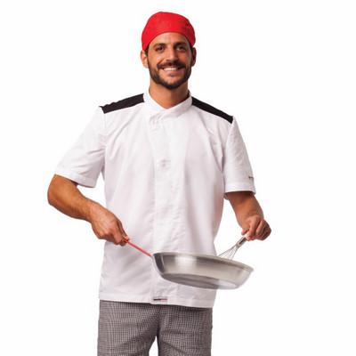 זקט שף לבן מאוורר מיקרו שרוול קצר