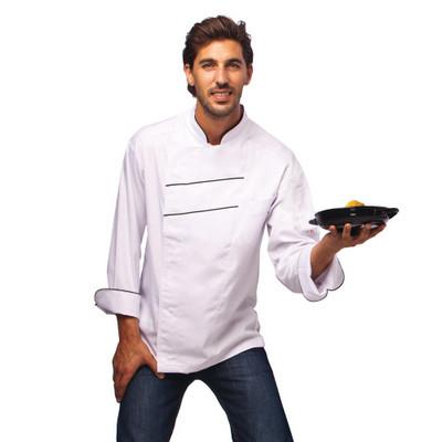 זקט שף איטליקו לבן פסים שחורים